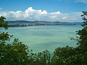 Views of Balatonfüred and Lake Balaton from Tihany Peninsula, Hungary.jpg