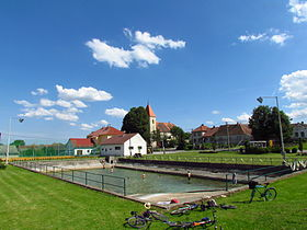 Village pond in Krhov, Třebíč District.JPG