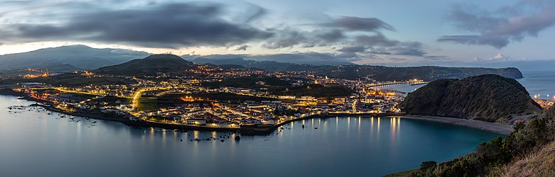 View of Horta from Monte da Guia, Faial Island, Azores, Portugal