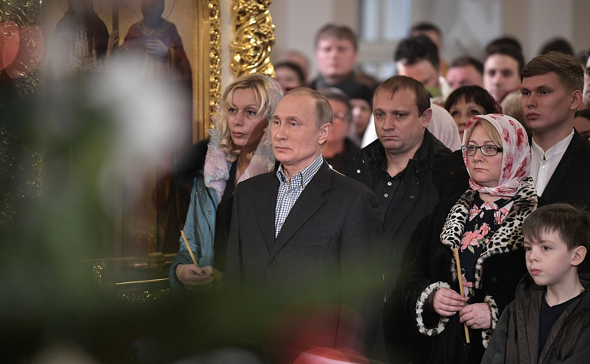 Vladimir Putin at Christmas service at the Church of Simeon and Anna (St. Petersburg; 2018-01-07) 04.jpg