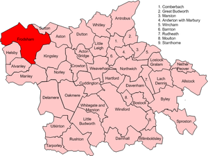 Frodsham - Map of civil parish of Frodsham within the former borough of Vale Royal