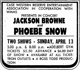 Phoebe Snow - Print ad for 1975 concert featuring Jackson Browne and Phoebe Snow.