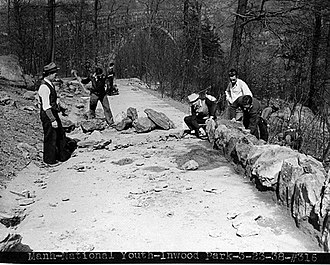 Inwood Hill Park - WPA workers constructing a paved pathway in Inwood Hill Park (1938)