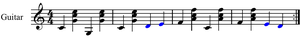 Carter Family picking - Walking bass provided by bass notes, stepwise motion in blue.