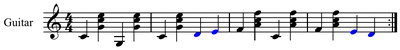 Walking bass provided by bass notes, stepwise motion in blue.