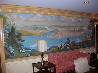 525 William Penn Place - Wall mural painting in the anteroom to the 41st floor former Mellon Executive Board room, 525 William Penn Place. Mural depicts Pittsburgh Point in 1849 as reproduced from a painting by B.F. King.
