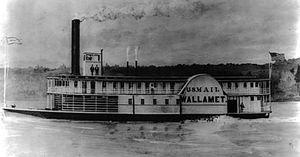Gazelle (sidewheeler 1854) - The steamer Wallamet, moored nearby when Gazelle exploded on April 8, 1854.