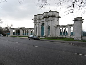 City War Memorial, Nottingham - Image: War Memorial Gateway, The Meadows, Nottingham geograph.org.uk 1216022