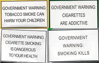 Smoking in the Philippines - Tobacco packaging warning messages on cigarette packs sold in the Philippines prior to March 2016