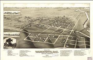 Watertown, South Dakota - An 1883 bird's eye illustration of Watertown