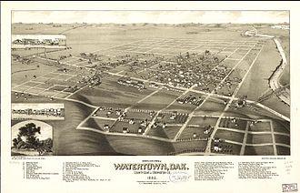 Watertown, South Dakota - An 1883 bird's eye illustration of Watertown