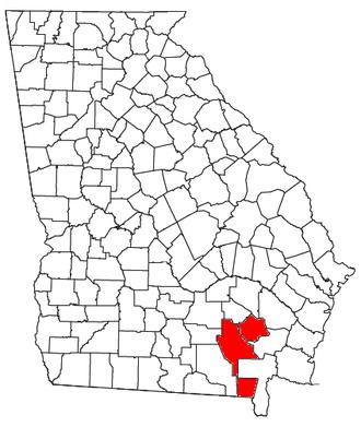 Waycross, Georgia micropolitan area - Location of the Waycross Micropolitan Statistical Area in Georgia