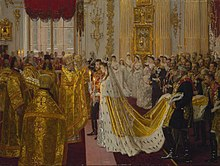 Wedding of Nicholas II and Alexandra Feodorovna by Laurits Tuxen (1895-6, Royal coll.).jpg