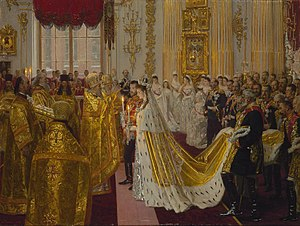 Royal intermarriage - The wedding of Nicholas II of Russia and Alix of Hesse, second cousins through their shared great-grandmother Wilhelmine of Baden.