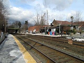 Railway station in Wellesley, Massachusetts
