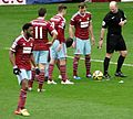 West Ham United get a free-kick v Crystal Palace, February 2015.jpg