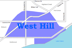 Location of West Hill within Toronto