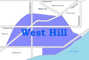 West Hill, Toronto - Image: West Hill map