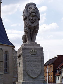Wettinerbrunnen, erected in memory of the 1307 battle