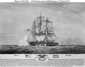 British and U.S. troops garrisoned aboard Hornet and Penguin exchanging small arms musket fire with Tristan da Cuna in the background during the final engagement between British and U.S. forces in the War of 1812 Wiki Capture Penguin.jpg