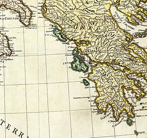 Ionian Islands under Venetian rule - The Ionian Islands in green. Map of 1785, when the Islands were still part of the Venetian Republic.