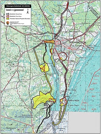 Battle of Wilmington - Map of Wilmington Battlefield core and study areas by the American Battlefield Protection Program.