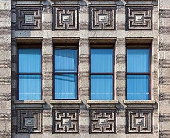 Facade detail of De Bazel, Amsterdam