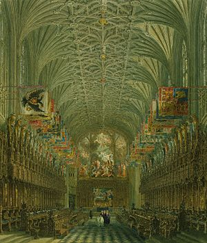 St George's Chapel, Windsor Castle -  The Quire of St George's Chapel, by Charles Wild, from W.H. Pyne's Royal Residences, 1818.