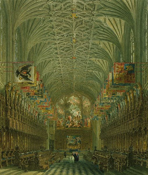 Windsor Castle, Quire of St George's, by Charles Wild, 1818