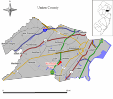 Map of Winfield Township in Union County. Inset: Location of Union County highlighted in the State of New Jersey.