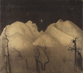 Nuit d'hiver dans les montagnes. Étude
