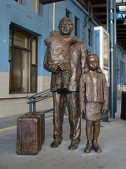 Statue at Prague main railway station, by Flor Kent, unveiled on 1 September 2009 Wintons Prague memorial by Flor Kent - 1.jpg
