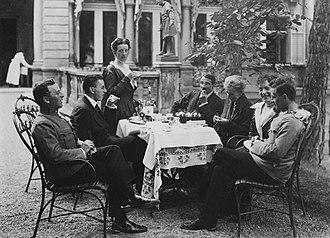 Paul Wittgenstein - The Wittgenstein family, Vienna, 1917. From left, sibs Kurt, Paul, and Hermine Wittgenstein; brother-in-law, Max Salzer; mother, Leopoldine Wittgenstein; Helene Wittgenstein Salzer; and Ludwig Wittgenstein