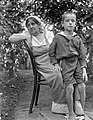Woman, kid, double portrait, boy, grandparent, summer, garden, bower Fortepan 22078.jpg