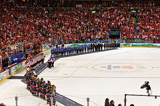 Medal ceremony for the women's ice hockey tournament at the 2010 Winter Olympics WomenHockey2010WinterOlympicsvictory.jpg