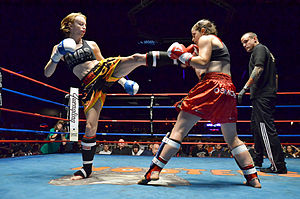 Muay Thai - Muay Thai boxer delivering a kick