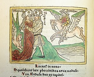 Woodcut illustration of Medusa and Neptune embracing beside a winged horse (either Pegasus or Chrysaor), with Perseus mounted upon Pegasus (following later developments of the Perseus legend) in the background - Penn Provenance Project