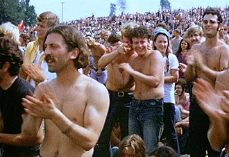 Woodstock - Part of the crowd on the first day of the festival