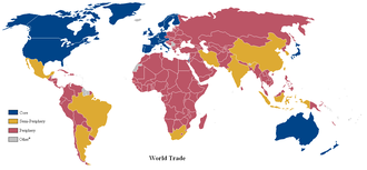 Core countries - A world map of countries by trading status in late 20th century using the world system differentiation into core countries (blue), semi-periphery countries (purple) and periphery countries (red), based on the list in Dunn, Kawano, Brewer (2000)