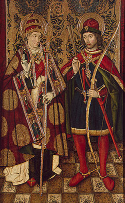 XV century Spanish panel of Saint Sebastian and Saint Fabian.jpg
