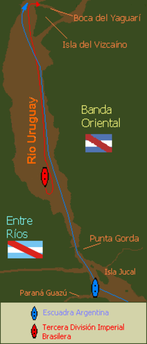 Battle of Juncal - First chase of the Third Division up the Uruguay River