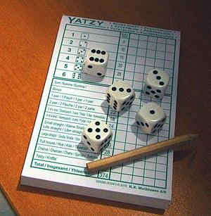 Yatzy - Yatzy Score card with dice