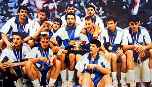 Dražen Petrović - Petrovic (first from right, at bottom) with the Yugoslavia team that won the EuroBasket 1989 held in Yugoslavia.