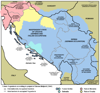 United Slovenia - During Second World War, Chetnik leader Stevan Moljević idealized a plan in which Serbia and Slovenia would see substantially enlarged their territories and fullfield their territorial claims after liberation from Axis forces.