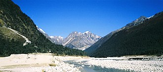 Himalayas - The Himalayan range at Yumesongdong in Sikkim, in the Yumthang River valley