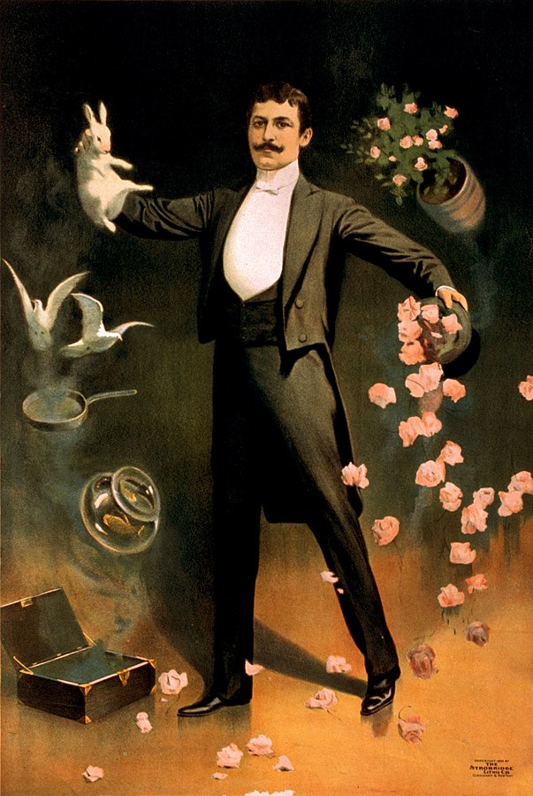Zan Zig performing with rabbit and roses, including hat trick and levitation. Advertising poster (1899) for the magician.
