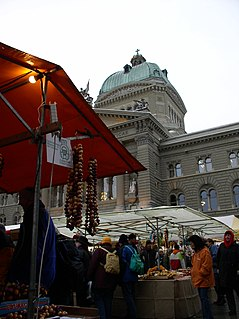 annual market with aspects of a fair in the old town of Berne, Switzerland