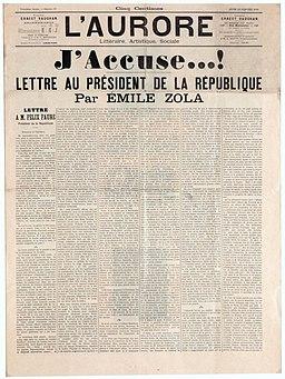 """""""J'accuse...!"""", page de couverture du journal l'Aurore, publiant la lettre d'Emile Zola au Président de la République, M. Félix Faure à propos de l'Affaire Dreyfus"""