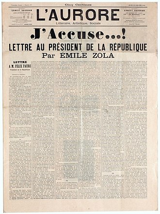 J'Accuse…! - Front page cover of the newspaper L'Aurore for Thursday 13 January 1898, with the letter J'Accuse...!, written by Émile Zola about the Dreyfus affair. The headline reads I Accuse...! Letter to the President of the Republic – Musée d'Art et d'Histoire du Judaïsme