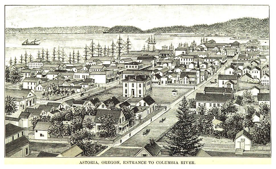 A image of Astoria in 1888 looking east towards Tongue Point.